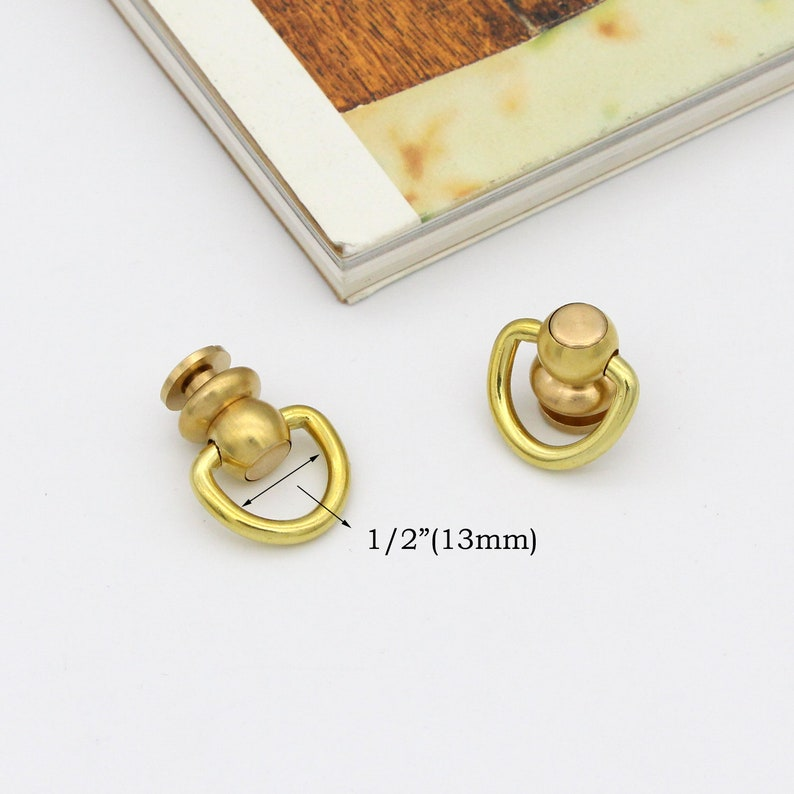 2pcs Solid brass Screw rivets swivel d ring chicago rivet Screw Studs screw back rivet purse feet swivel connector