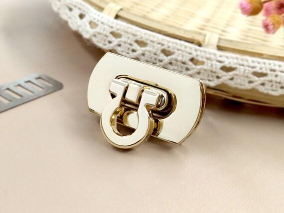 Blue Stones Metal Rectangle Shape Clasp Turn Lock Twist Lock DIY Handbag Bag Purse Hardware