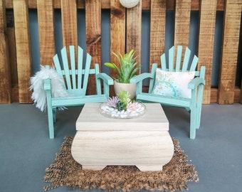 Miniature 1:6 scale furniture set / table + 2 beach chairs + carpet + plant  / Barbie furniture / Blythe dolls /