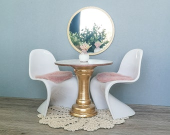 Barbie furniture / 1:6 scale furniture / dining room / table / chair