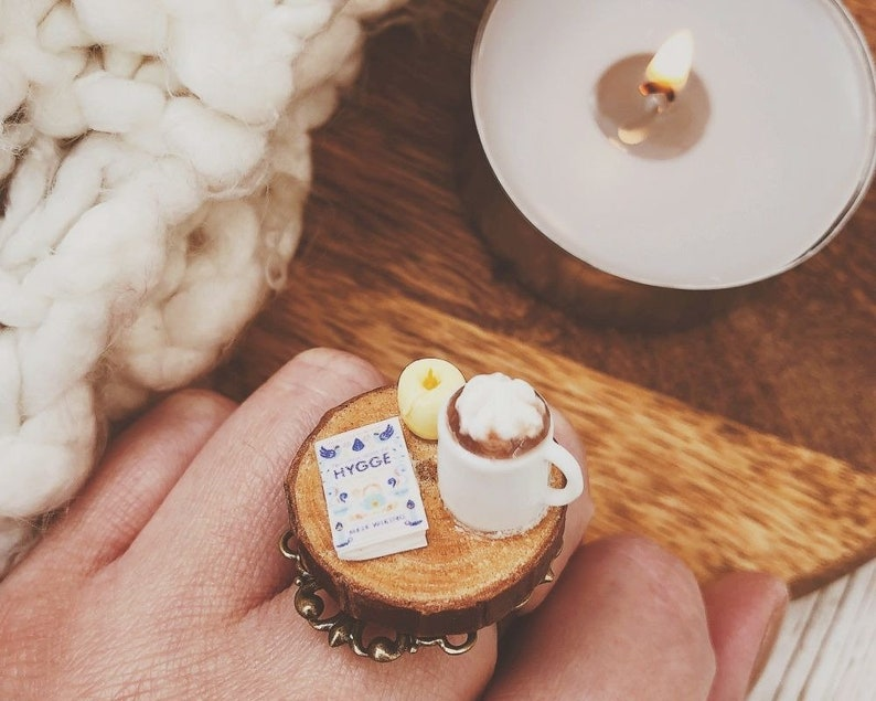 Food Jewellery Candle and Hot Chocolate Hygge Inspired Miniatures Ring Book