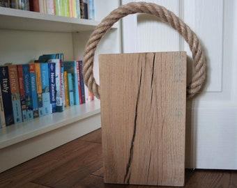 Solid Oak & Rope Door Stop - Maxi
