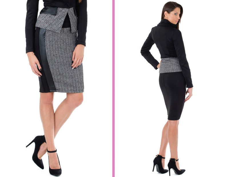 High quality soft neoprene Neoprene black pencil skirt Bonellilux Wool and leather combinated Above the knee skirt Belt and low rise