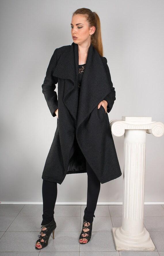 Schwarzer Damen Typ MantelKragen WellenWasserfall Staubtuch Strickjacke Großen Mantel SchalkragenModischen Ok8n0ZPXNw
