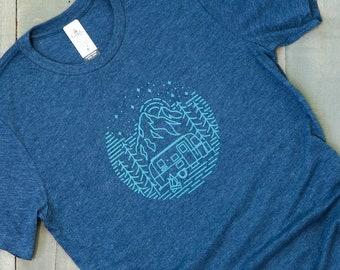 airstream mountain shirt, camper tshirt, camping shirt, unisex graphic tee, trailer travel gift, blue tee, happy camper, motorhome, rv life,