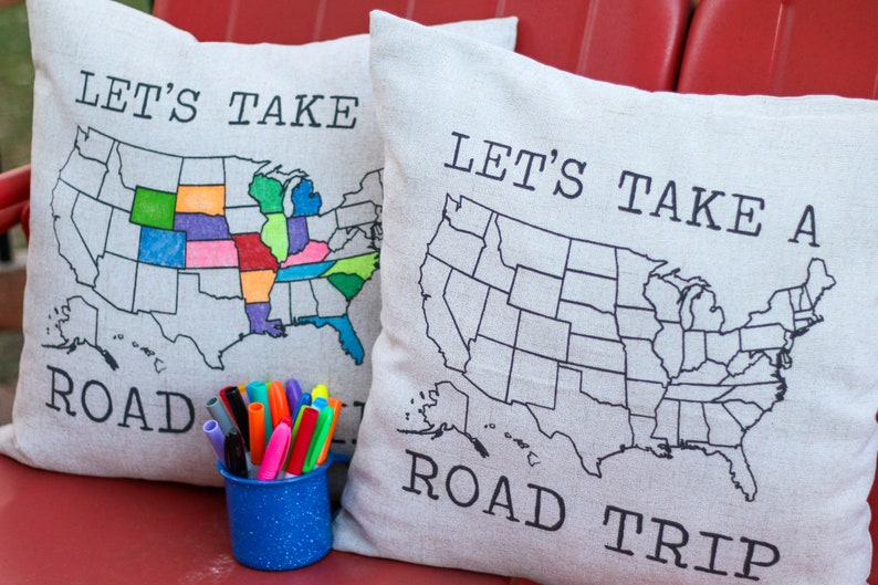 let's take a road trip pillow sham travel gift adventure image 0