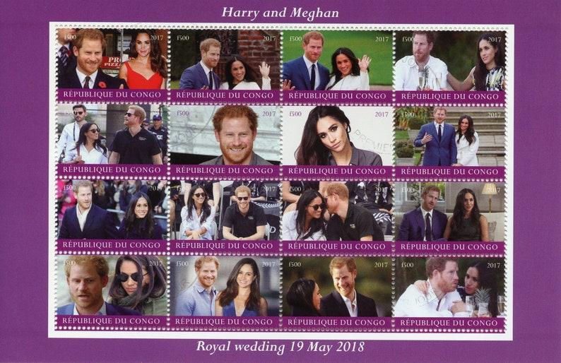 Royal Wedding Cancelled.Congo 2017 Cto Prince Harry Meghan Royal Wedding 2018 16v M S Royalty Stamps