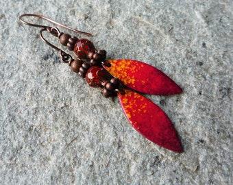 Copper earrings Artisan earrings Hindu earrings Bohemian earrings Ethnic earrings Red enamel earrings