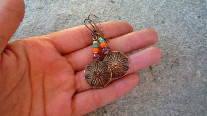 Artisan earrings Boho earrings Handmade earrings Colorful earrings Hippie earrings Copper earrings