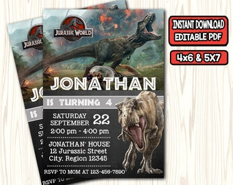 Jurassic World Invitation Birthday Wold Party Card Park PDF