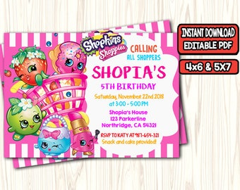 image regarding Shopkins Printable Invitations titled shopkins birthday invites printable - Kadil