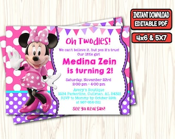MINNIE MOUSE INVITATION Minnie Mouse Birthday Invitation Invite Pink Oh Twodles 2nd Printable Pdf
