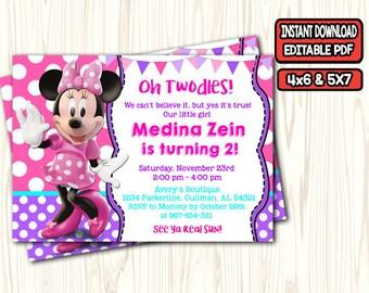 Minnie Invitations Etsy