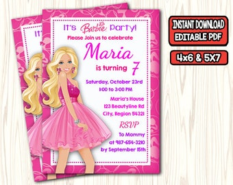 Barbie Birthday Invitation Party For Girl Invites PDF