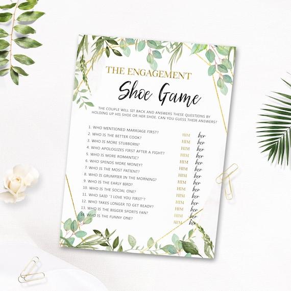 The Engagement Shoe Game Bridal Shower Printable Bridal