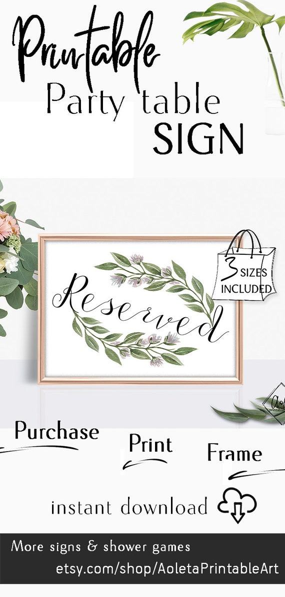 photograph regarding Printable Reserved Table Signs referred to as Reserved Desk Indicator Wedding day Stylish Greenery Leaves signal