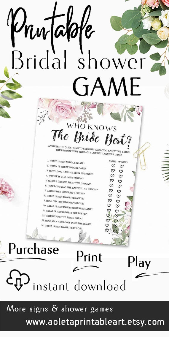 photograph about How Well Do You Know the Bride Printable titled Who Is aware the Bride Excellent, How Very well Do Oneself Notice the Bride