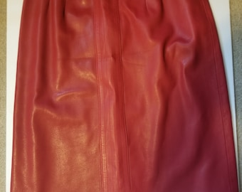 b2b159ed7c33 Authentic Simon Chang Genuine Red Leather Pencil Skirt, Vintage Leather  Skirt, Retro Leather Skirt