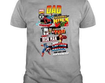 0defb830 Dad As Incredible Hulk As Mighty Thor Smart Ironman T Shirt, Father's Day  2019 T Shirt