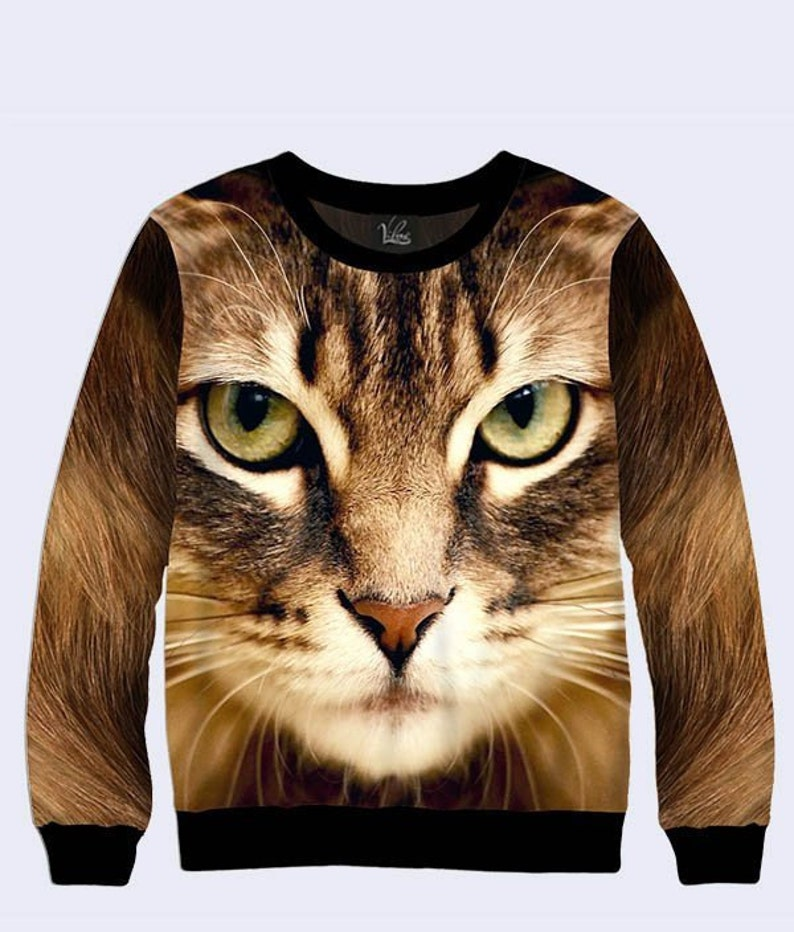 55a4b29c6 Kitty Cat 3D printed sweatshirt Unisex Sweatshirt Unique | Etsy