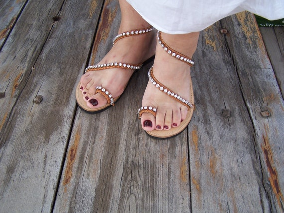 s Electra, sandales en cuir grec, mariées sandales, Crystal sandales Crystal sandales, Preciosa, livraison gratuite 975449