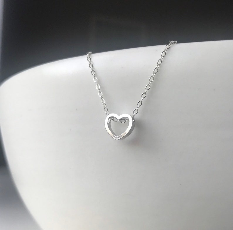 Valentines Day Gift Sterling Silver Open Heart Necklace Small Heart Charm Necklace Tiny Heart Necklace layering Heart necklace