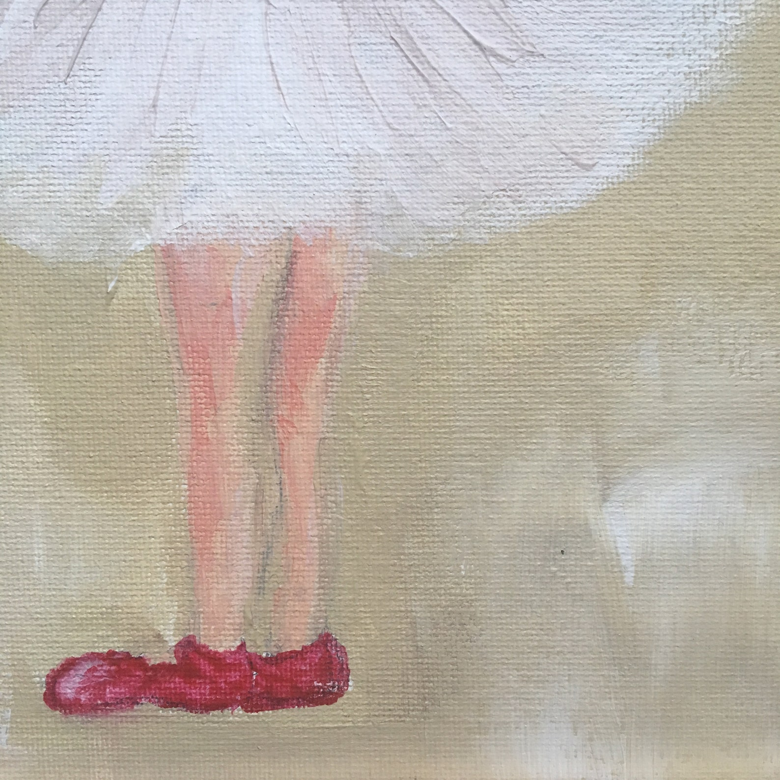 junior ballet dancer in her red ballet shoes an original acrylic on a 12