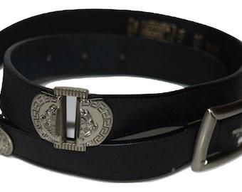 738d142152c Zwart en zilver Vintage Gianni Versace Medusa hoofd lederen riem