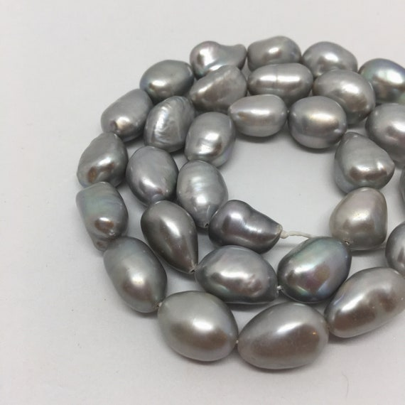 10mm Grey freshwater pearls smooth shiny