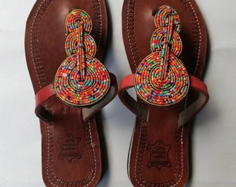 1156a20fc6d5 ON SALE African Beaded Sandals