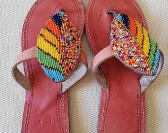 0b80e333b ON SALE African Beaded Maasai Sandals