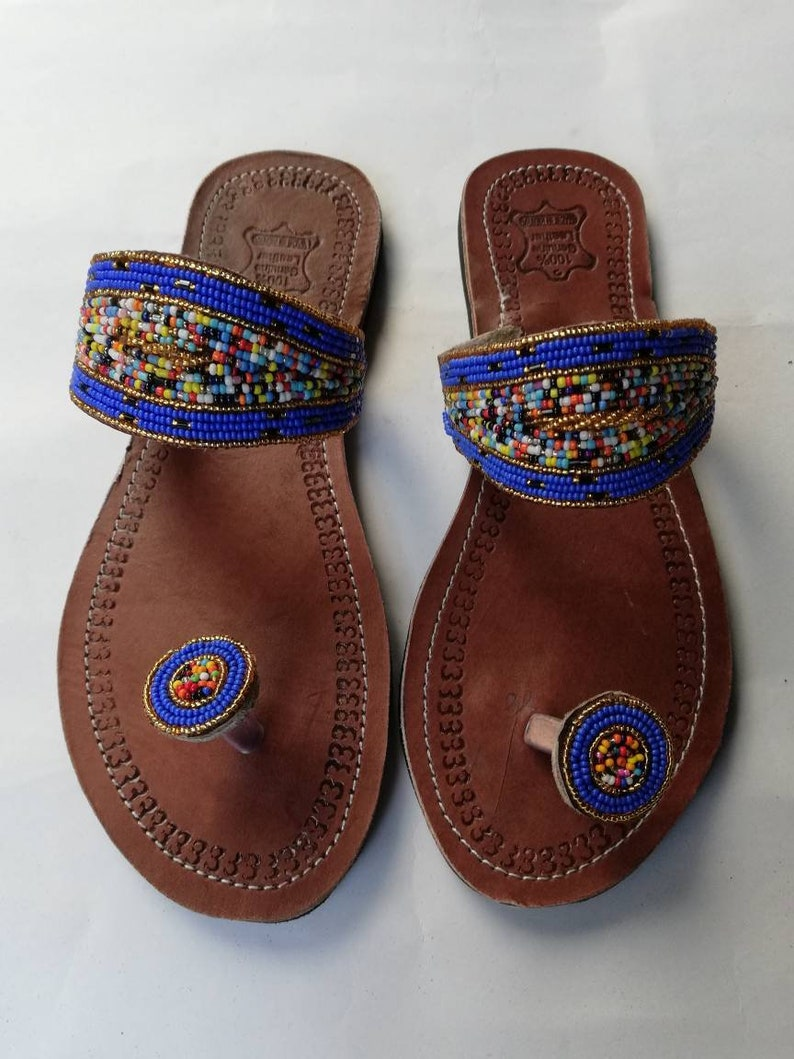 42c6423abd4e5 ON SALE African Beaded leather Sandals Beaded Masai sandals