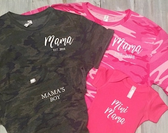 72e4996ebcf4b Mama Est, Mama's Boy, Mini Mama, Mommy and Me Shirts, Mother Son Shirts,  Mother Daughter Shirts, Camo Mom shirt, pink camo mom shirt
