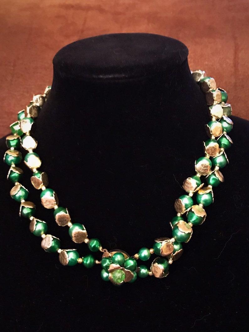 Vintage Hong Kong Metal Beaded Necklace Set