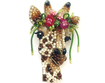 Deer beaded Pin,Wild Animal brooch,Deer Brooch,embroidered deer,deer head embroidered pin animal beaded jewelry for her