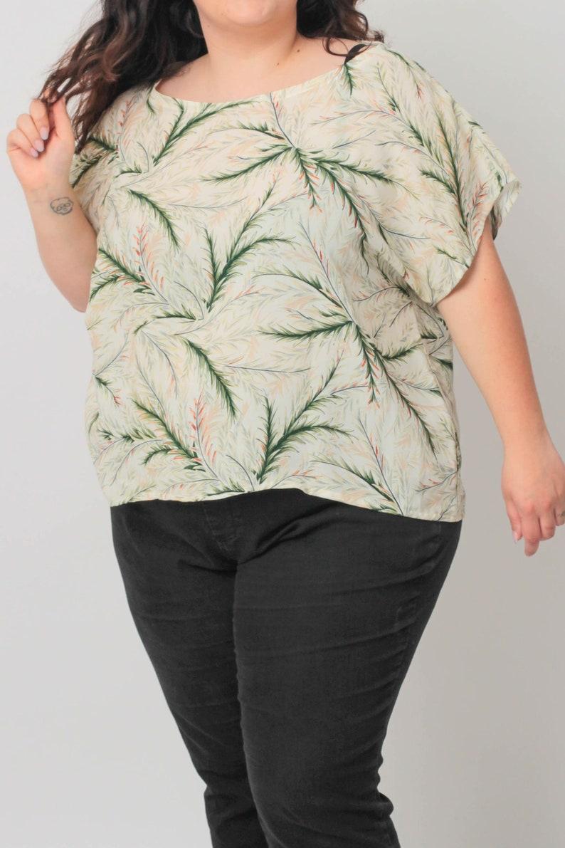 plus size tee Floral blouse ooak