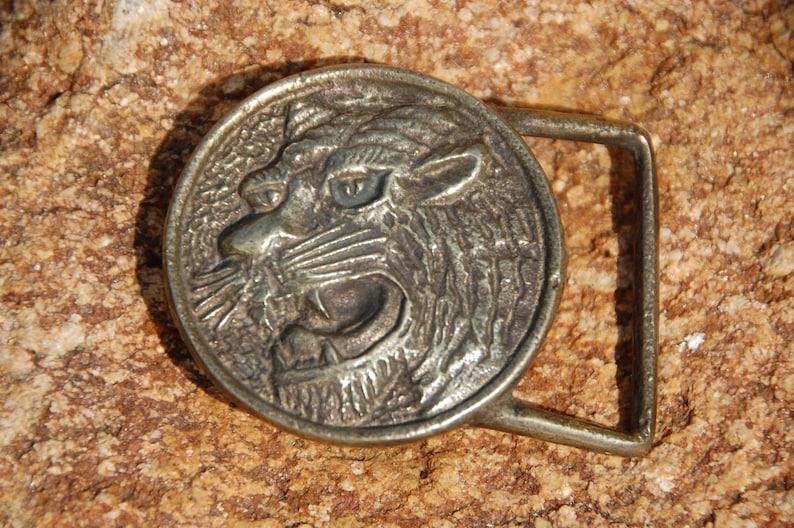Tiger Head Belt Buckle Vintage 1970/'s Solid Brass Round Hippie Boho Retro