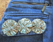 St. John 39 s Bay repurposed Denim Skirt, large, embellished with paisley yo-yos on pockets and the bottom right hand side of the skirt