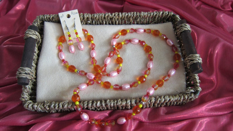 pink pearl wrapped beads on stainless steel wire No Clasp necklace and earring set with bicolor Czech fire-polished faceted round beads