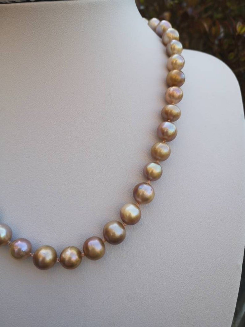 Natural Freshwater Cultured Bronze Pearls Silk Knotted Necklace Rose Gold Plated Sterling Silver Clasp Bridal Wedding