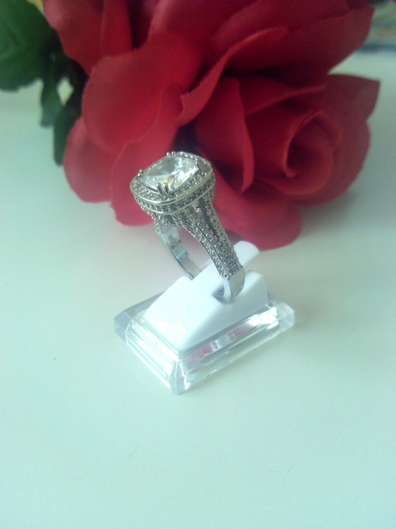 Size 9 Dress Ring 925 Sterling Silver Plated