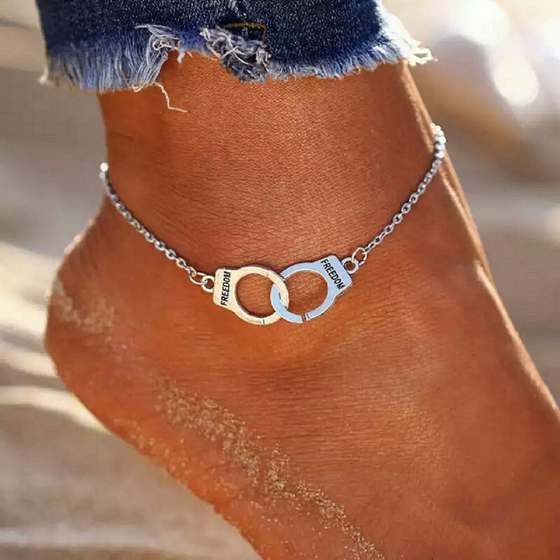 Handcuff Silver Anklet