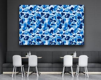 45bf1b2f5ec0 Bape Blue Camo Wall Art Canvas Print Poster