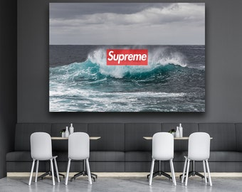 Supreme Tide Wave Crashing X Hypebeast Wall Art Decor Design Canvas Print Poster