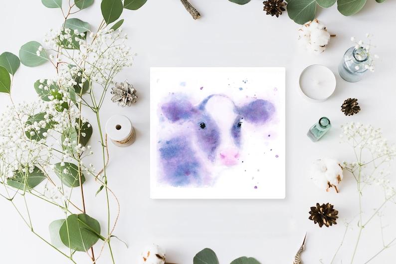 Cow Miniature Loose Watercolour Print. Calf Painting Vegan image 0