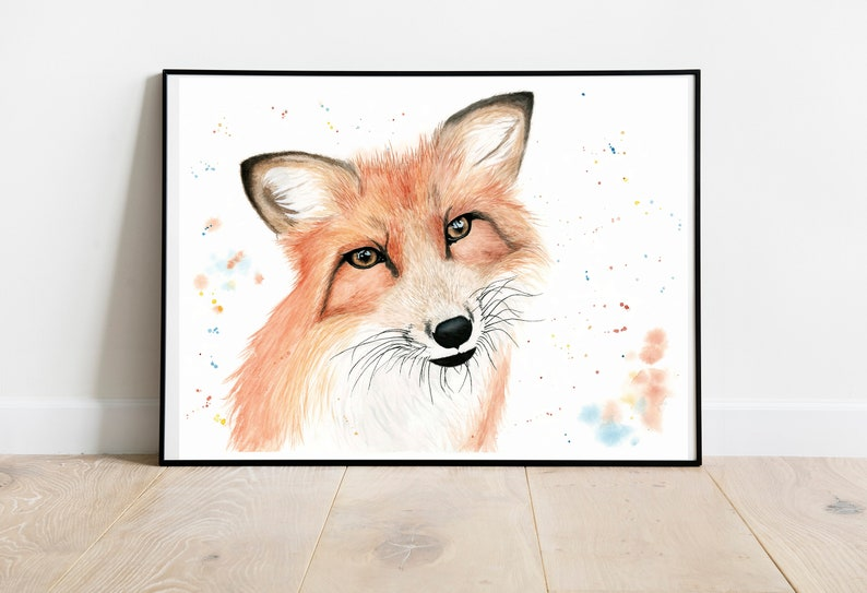 Fox Watercolour Fine Art Print. Vegan Wall Art Vegan Home image 0