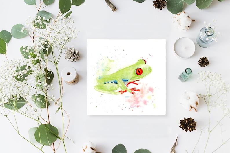 Tree Frog Miniature Loose Watercolour Print Amazon Frog image 0