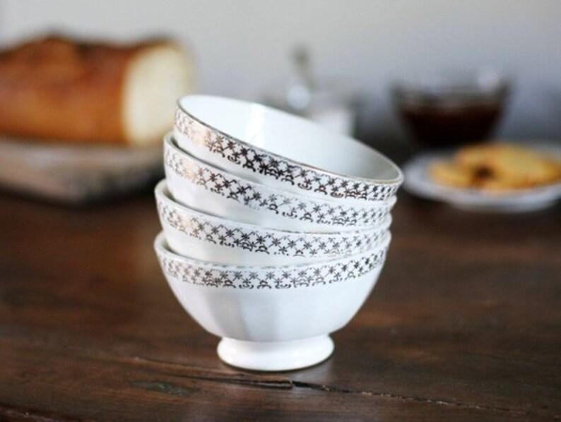 4 Cafe Au Lait Bowls, Vintage French Breakfast Bowls, Vintage French Decor,  French Kitchen Decor, French Provincial, Ceramic Bowl White Gold