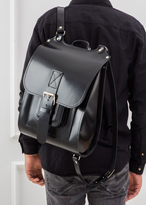 08904031bf Black leather backpack men Backpack women Leather rucksack