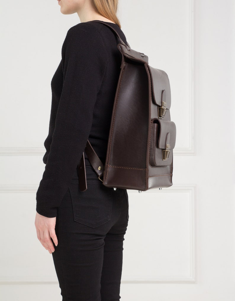 Brown leather backpack unisexBrown leather rucksack menLeather backpack womenMinimalist leather backpackLadies backpackMen/'s backpack